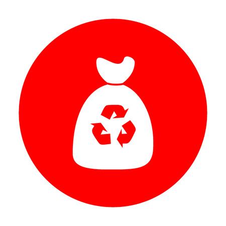 Trash bag icon. White icon on red circle.