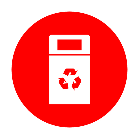 trashcan: Trashcan sign illustration. White icon on red circle.