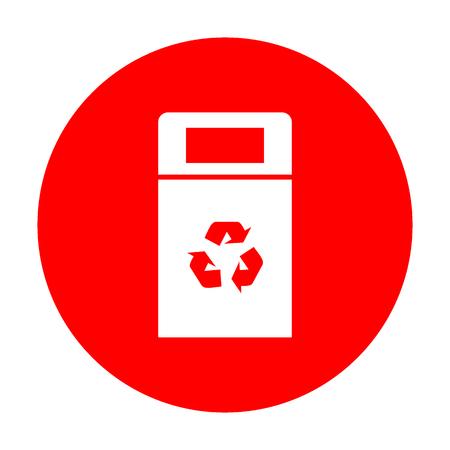 trashing: Trashcan sign illustration. White icon on red circle.