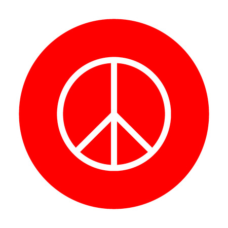 pacificist: Peace sign illustration. White icon on red circle.