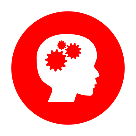 thinking machines: Thinking head sign. White icon on red circle.