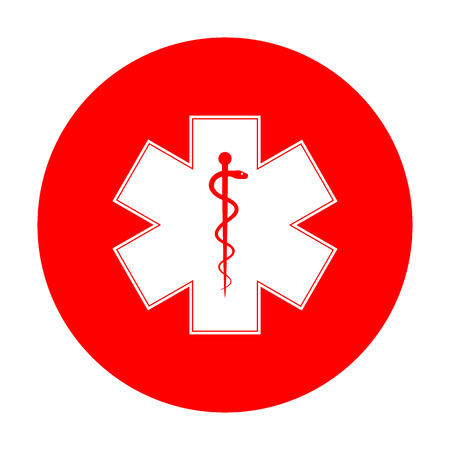 staff of aesculapius: Medical symbol of the Emergency or Star of Life. White icon on red circle.