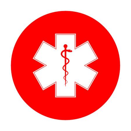 estrella de la vida: símbolo médico de la emergencia o Estrella de la vida. El icono blanco en el círculo rojo. Vectores