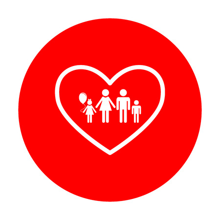 siloette: Family sign illustration in heart shape. White icon on red circle.