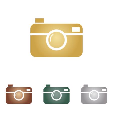 Digital photo camera sign. Metal icons