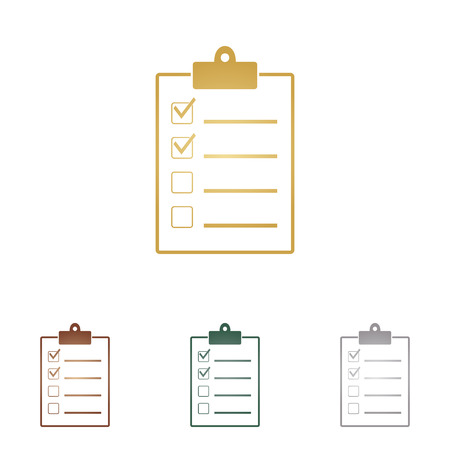 accepted: Checklist sign illustration. Metal icons