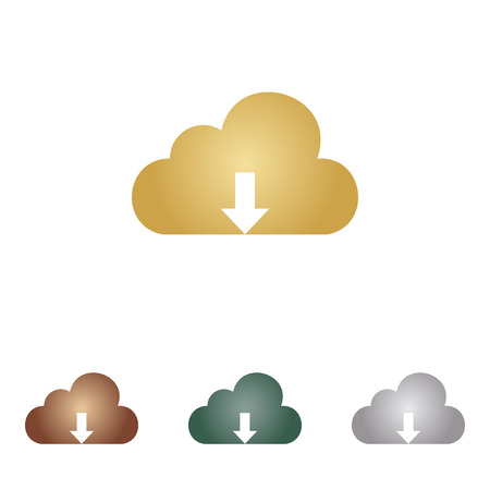 cloud technology: Cloud technology sign. Metal icons Illustration