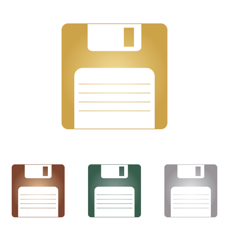 old pc: Floppy disk sign. Metal icons Illustration