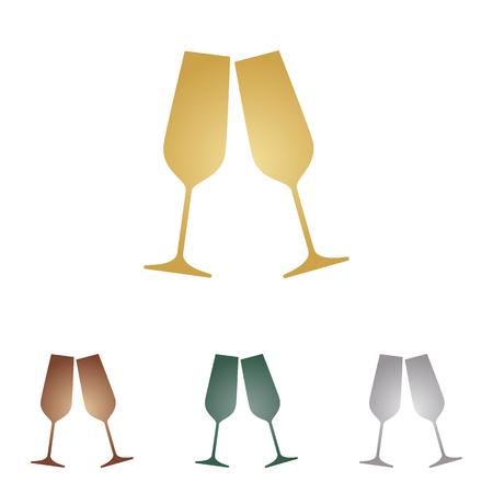 verres de champagne mousseux. icônes métalliques Vecteurs