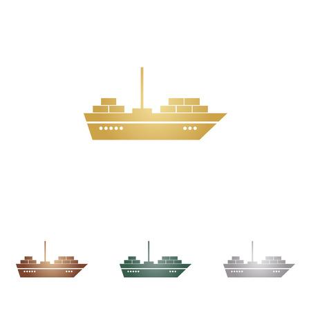sea tanker ship: Ship sign illustration. Illustration
