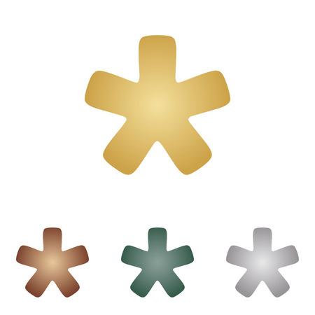 reference point: Asterisk star sign. Illustration