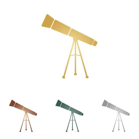 Telescope simple sign. Illustration