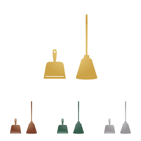 whisk broom: Dustpan vector sign. Scoop for cleaning garbage housework dustpan equipment.