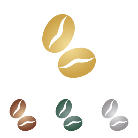 decaf: Coffee beans sign. Metal icons on white backgound. Illustration