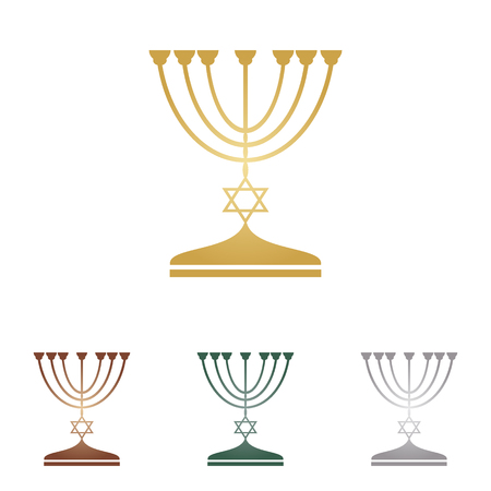 Jewish Menorah candlestick in black silhouette. Illustration