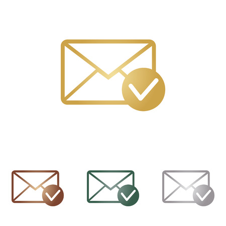 allow: Mail sign illustration with allow mark.