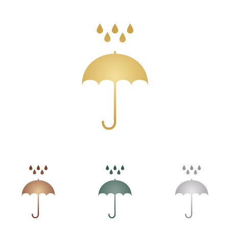 Umbrella with water drops. Rain protection symbol. Flat design style. Metal icons on white backgound.