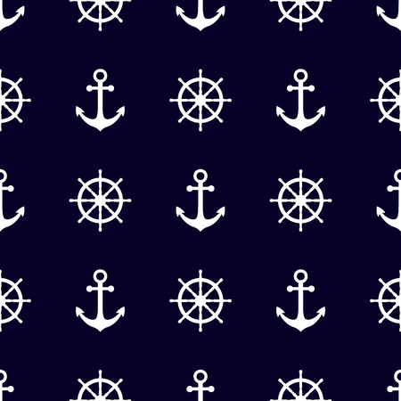 Marine and nautical backgrouns in blue and white colors. Sea theme. Cute seamless patterns design. Vector illustration.