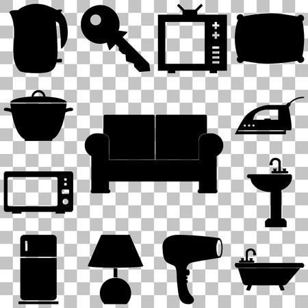 Home pieces signs set. Flat style Vector illustration Ilustração