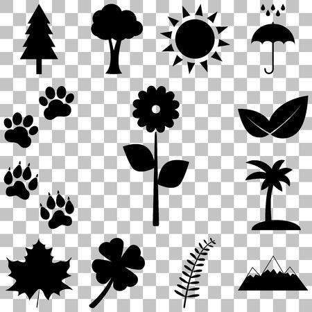 huellas de animales: Trees, flowers, trees and animal tracks. Nature icons set