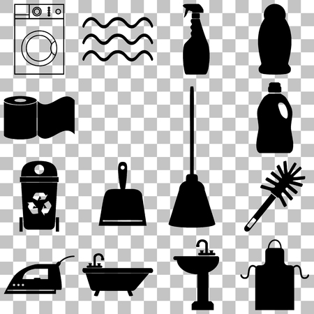 squeegee: Cleaning service icons set. Flat style Vector illustration