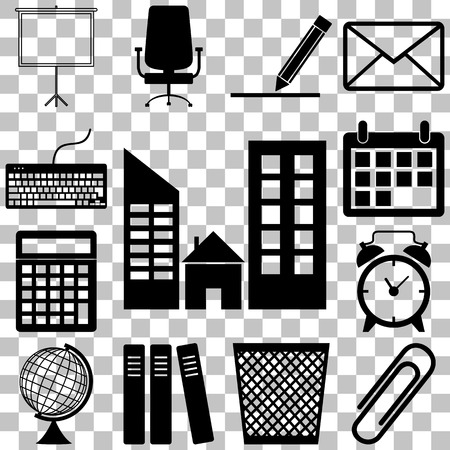 office accessories: Office accessories icons set. Flar style Vector illustration