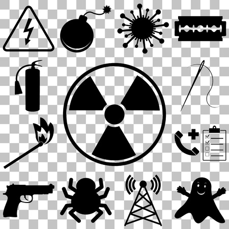 gas mask warning sign: Dangerous and icons set. Flat style vector illustration