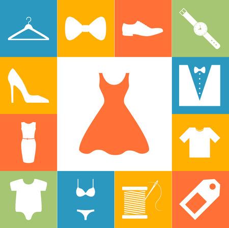 Dress and fashion signs colorfull set. Vector illustration Illustration