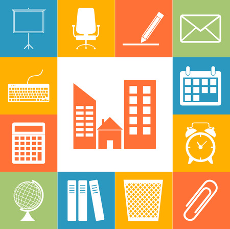 office accessories: Office accessories icons colorfull set. Flar style Vector illustration