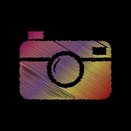 Digital photo camera sign. Coloful chalk effect on black backgound.