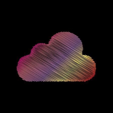 Cloud sign illustration. Coloful chalk effect on black backgound. Illustration