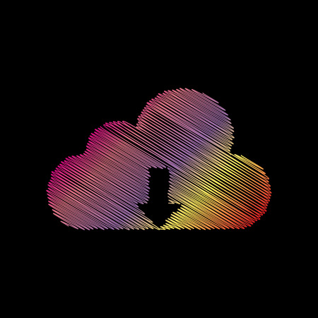 coloful: Cloud technology sign. Coloful chalk effect on black backgound.