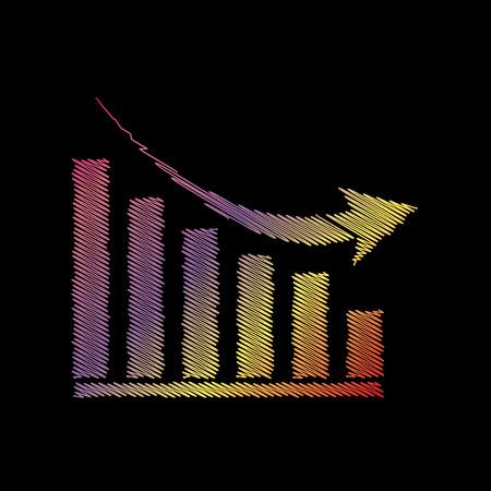 declining: Declining graph sign. Coloful chalk effect on black backgound. Illustration