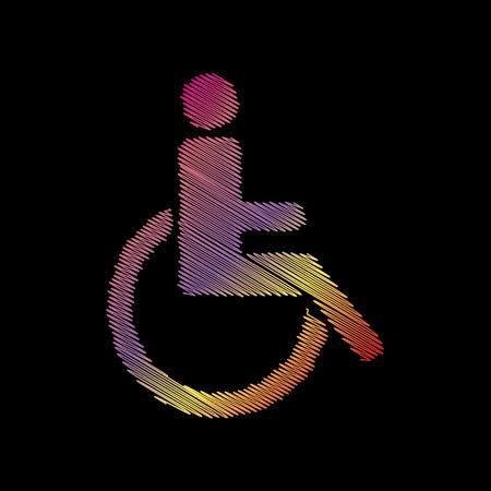 disabled sign: Disabled sign illustration. Coloful chalk effect on black backgound. Illustration