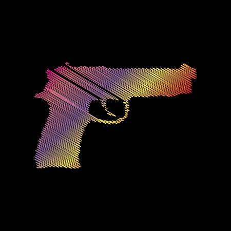 Gun sign illustration. Coloful chalk effect on black backgound.
