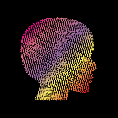 black people: People head sign. Coloful chalk effect on black backgound.