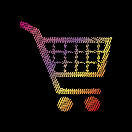 Shopping cart sign. Coloful chalk effect on black backgound. Illustration