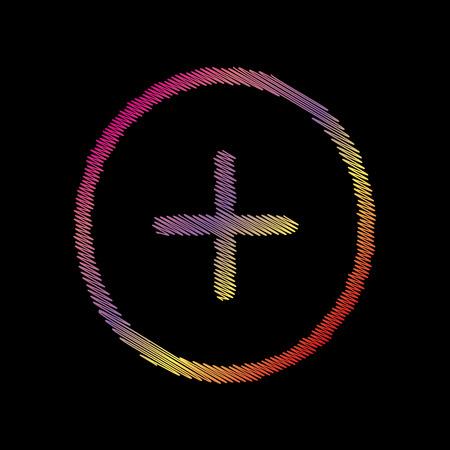 Positive symbol plus sign. Coloful chalk effect on black backgound.