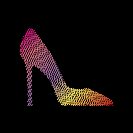 black backgound: Woman shoe sign. Coloful chalk effect on black backgound. Illustration