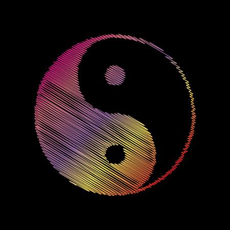 yin y yan: símbolo ying yang de la armonía y el equilibrio. COLOFUL tiza efecto en backgound negro.