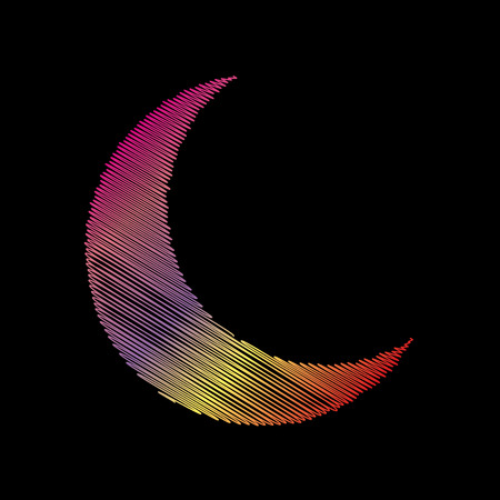 Moon sign illustration. Coloful chalk effect on black backgound. Illustration