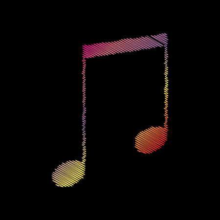 black backgound: Music sign illustration. Coloful chalk effect on black backgound.