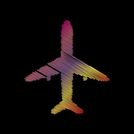 coloful: Airplane sign illustration. Coloful chalk effect on black backgound.