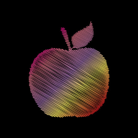 Apple sign illustration. Coloful chalk effect on black backgound.