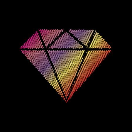 Diamond sign illustration. Coloful chalk effect on black backgound.