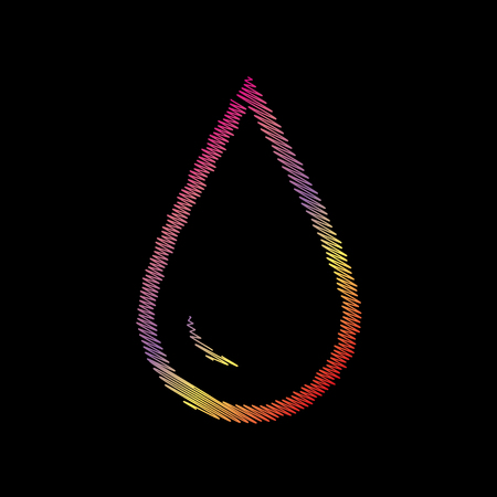 refuel: Drop of water sign. Coloful chalk effect on black backgound. Illustration
