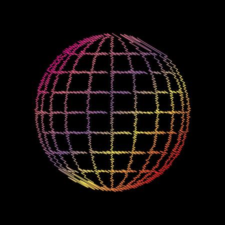 Earth Globe sign. Coloful chalk effect on black backgound.