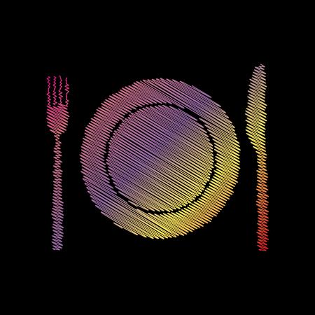Fork, tape and Knife sign. Coloful chalk effect on black backgound. Illustration