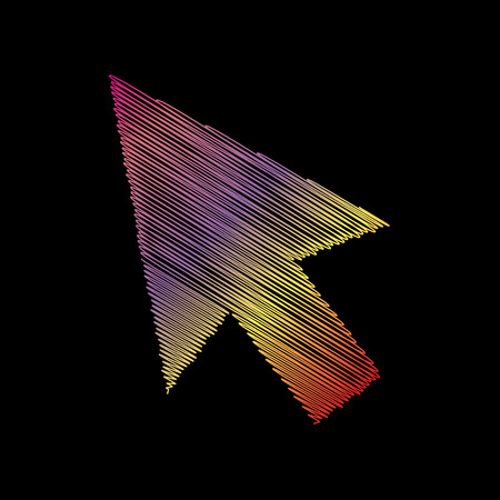coloful: Arrow sign illustration. Coloful chalk effect on black backgound.
