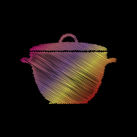 Saucepan simple sign. Coloful chalk effect on black backgound.